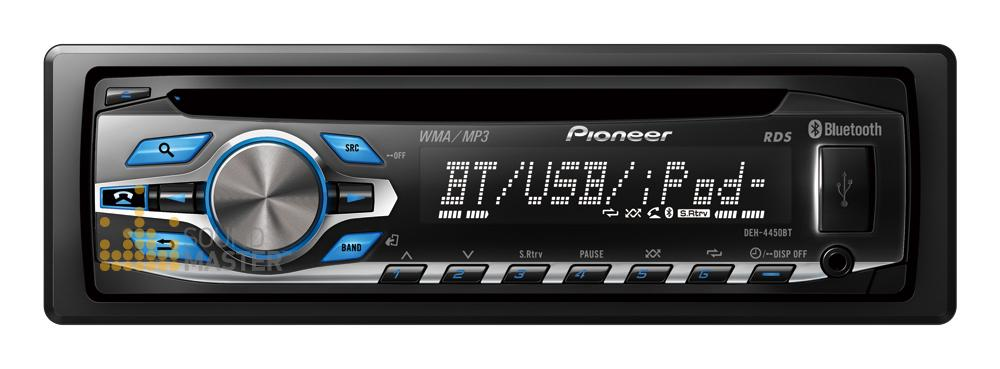 Pioneer DEH4450BT CD MP3 WMA Bluetooth Tuner IPhone USB AUX 2 Preout